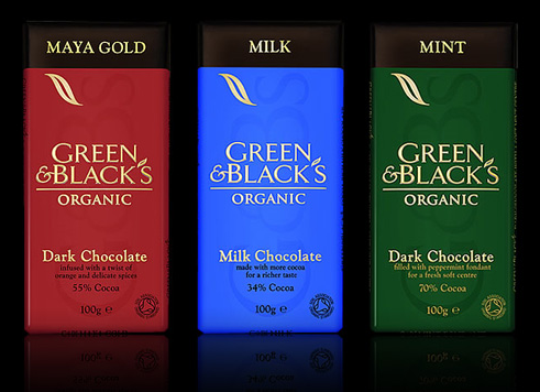 chocolate package by green and black