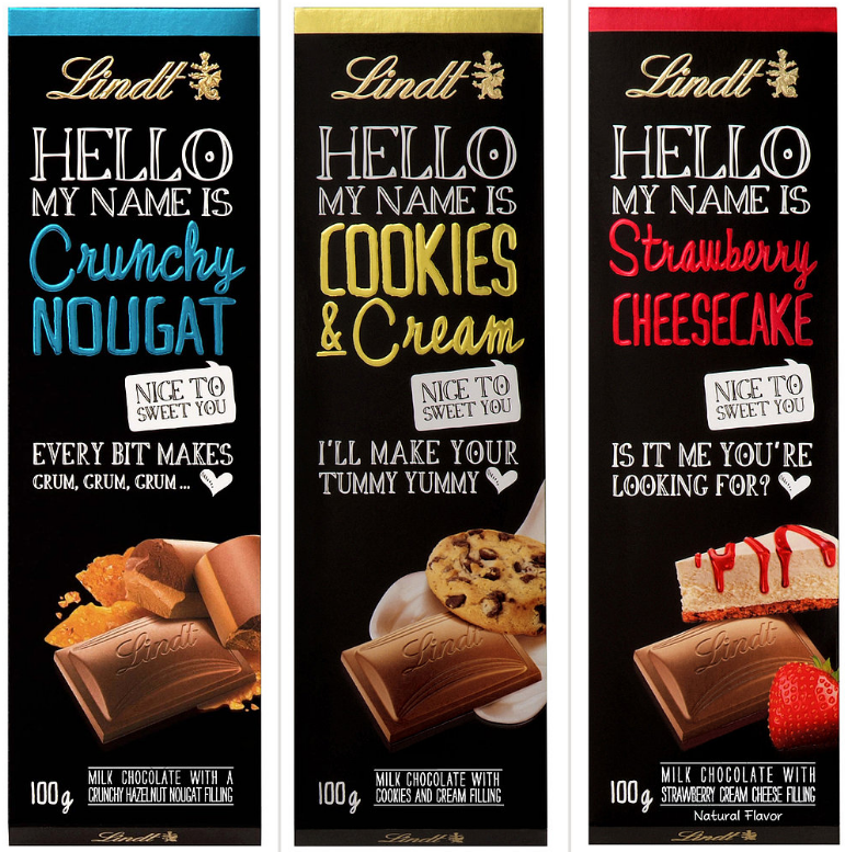 chocolate labels lindt